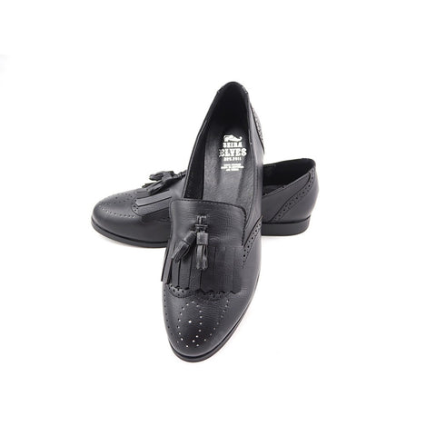 Faisal black loafers with top and twin tassels - Maison du Roi - 1