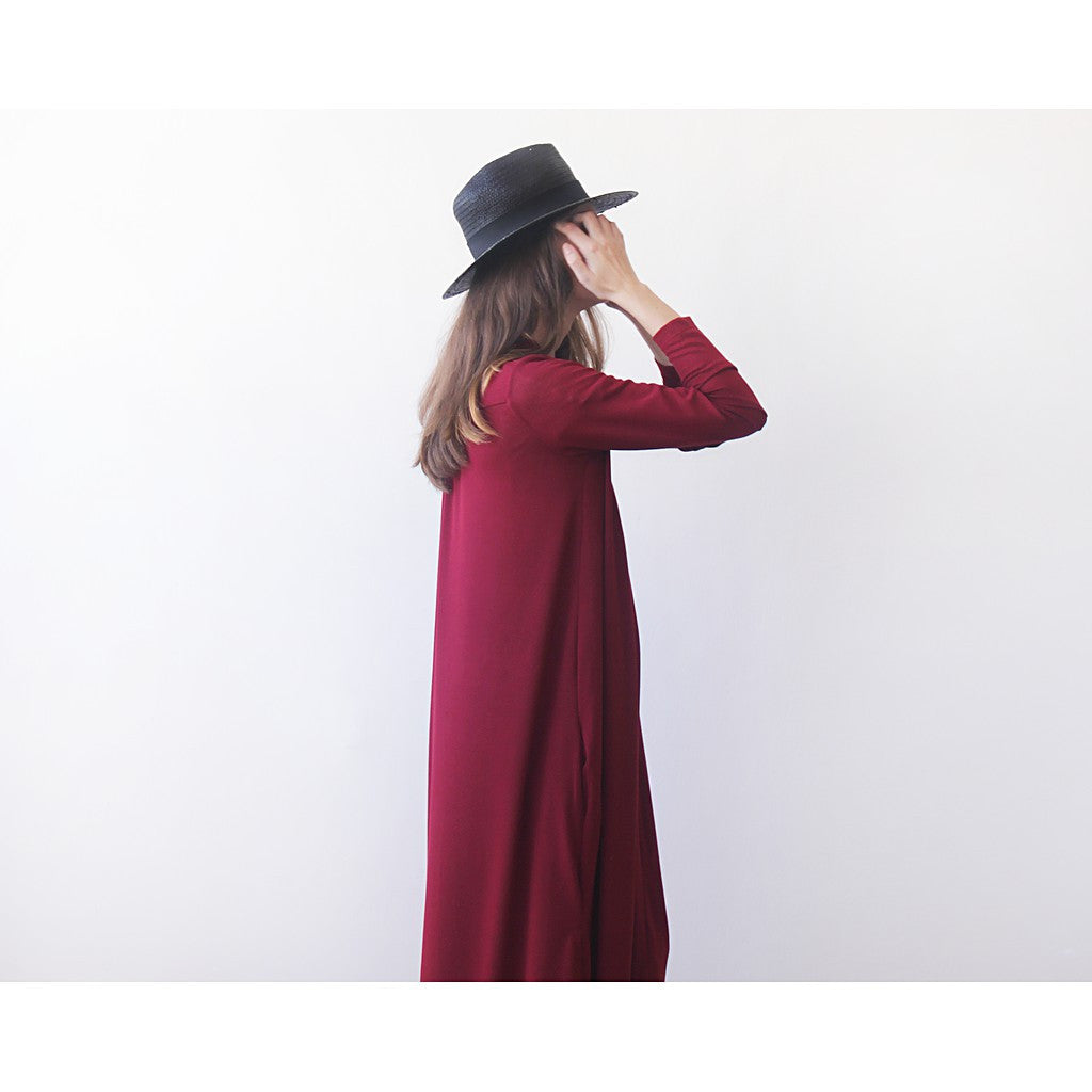 Knitted maxi bordeaux cardigan with pockets ,Red maxi knit autumn coat - Maison du Roi - 2