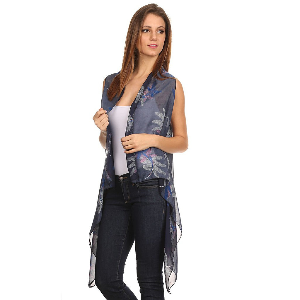 Womens Mid-length Lightweight Open Front Sleeveless Poncho. Dragonfly pattern. - Maison du Roi - 2