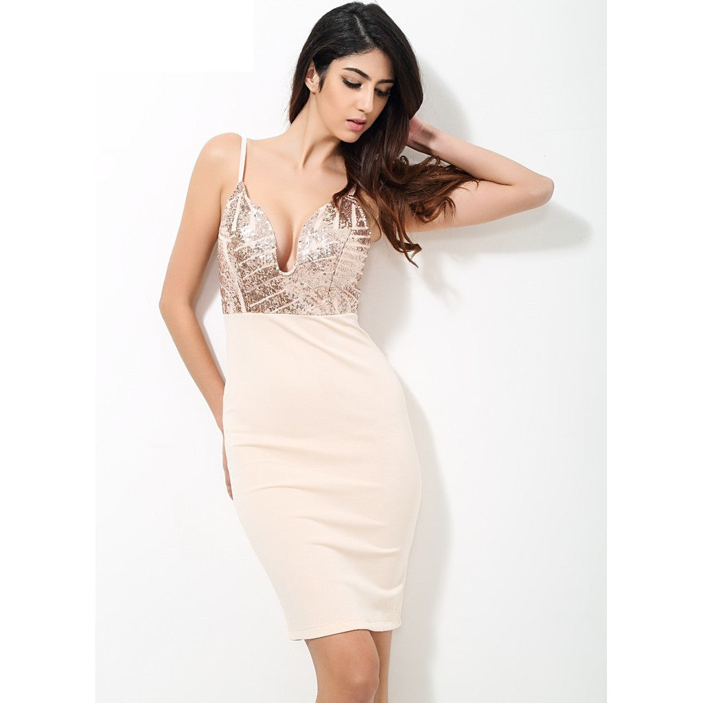 Beige Sequin V Neck Plunge Party Dress - Maison du Roi - 2