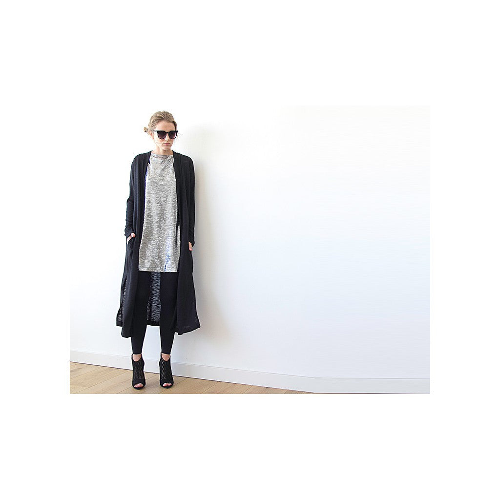 Dark blue maxi knit autumn coat, Knitted maxi blue cardigan with pockets - Maison du Roi - 5