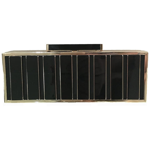 Izoa Alexandra Black and Gold Hardcase Clutch - Maison du Roi