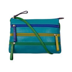 Leather Crossbody Bag with 3 Zippers - Cool Tropics - Maison du Roi