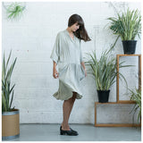 Oversized Buttoned Shirt Dress,Dropped Waist Shirt Dress, Stone. - Maison du Roi - 2