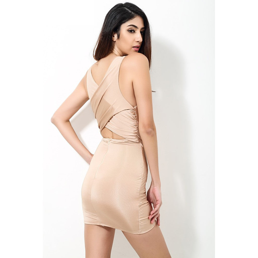 Solid Nude Fitted Party Dress - Maison du Roi - 4