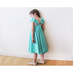 Turquoise girls butterfly dress - Maison du Roi - 2