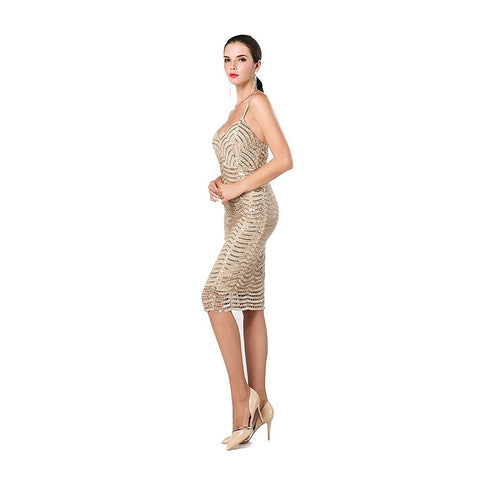 Gold Sequin Halter Dress