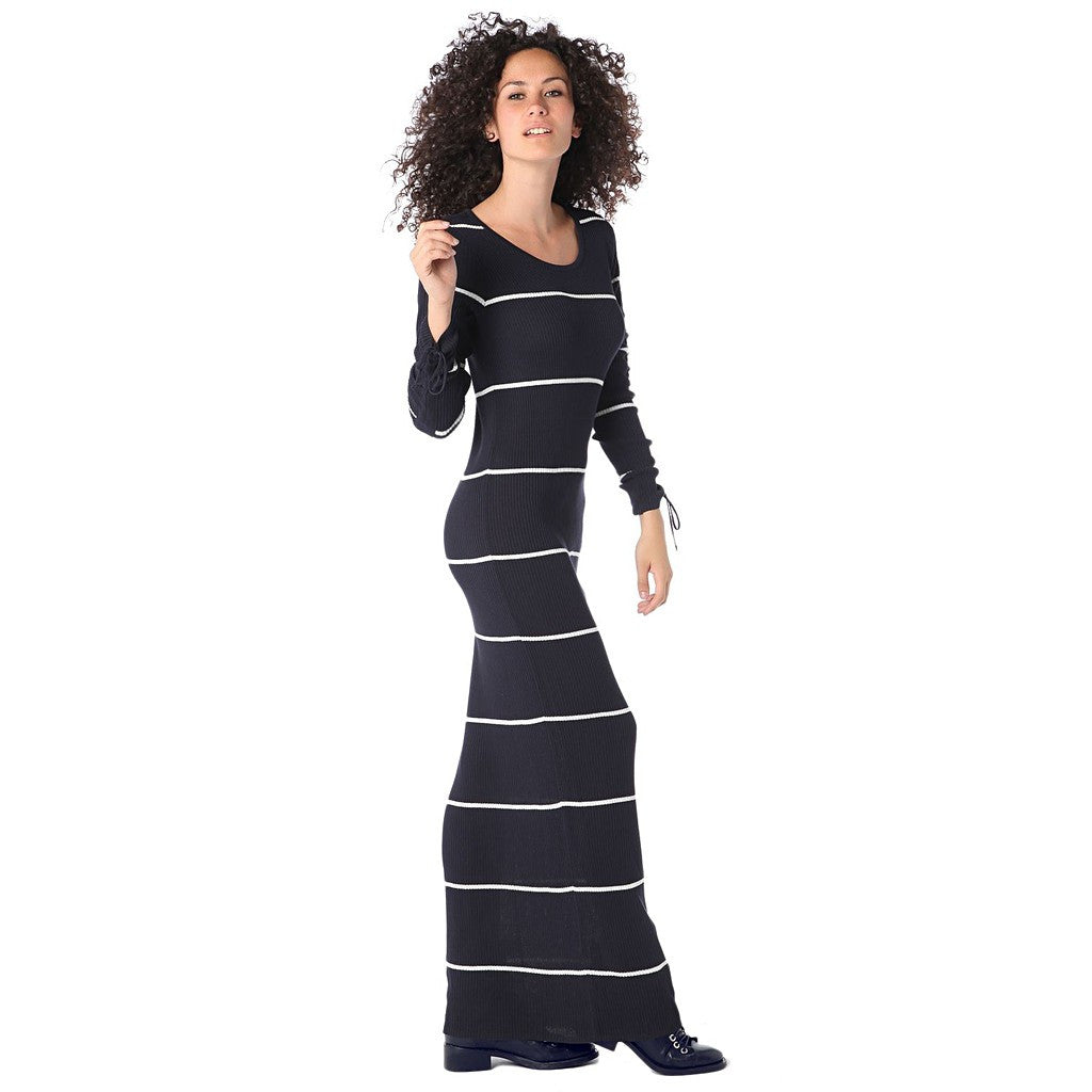 Navy blue stripe maxi dress in ribbed jersey - Maison du Roi - 1