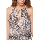 Gray maxi dress in animal print - Maison du Roi - 4