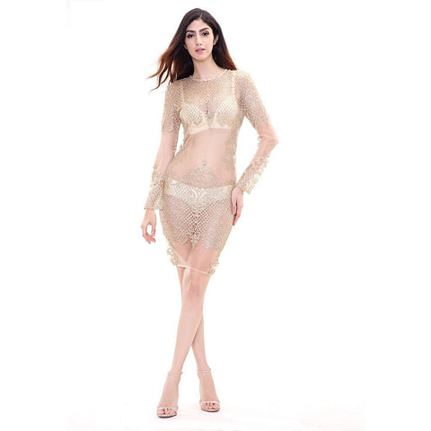 Gold See Thru Dress - Maison du Roi - 1