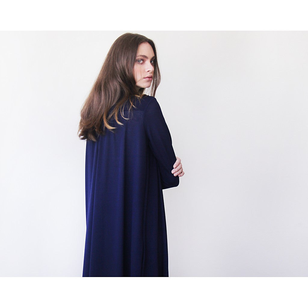 Dark blue maxi knit autumn coat, Knitted maxi blue cardigan with pockets - Maison du Roi - 1
