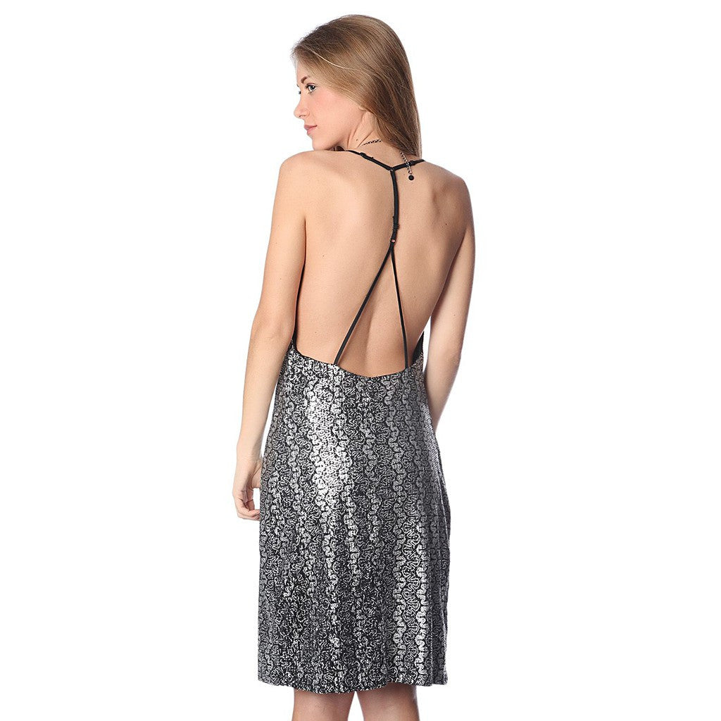 Silver brocade print dress with strappy back - Maison du Roi - 3