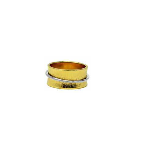 Concaved Ring With Silver Tone Band - Similar to Cartier - Maison du Roi - 1
