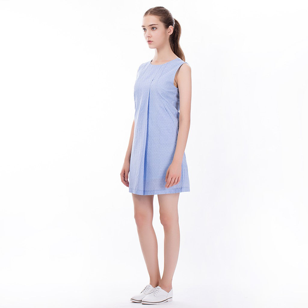 The Asymmetric Sundress in Blue - Maison du Roi - 5