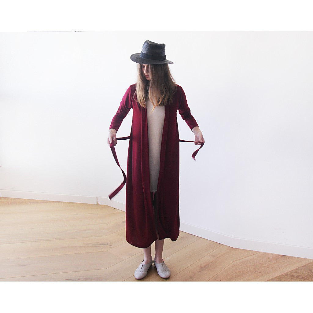 Knitted maxi bordeaux cardigan with pockets ,Red maxi knit autumn coat - Maison du Roi - 5