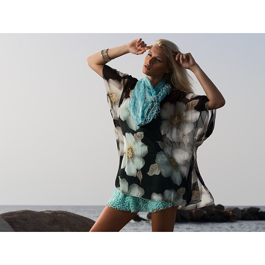 Magnolia Pullover Summer Poncho Cover Up - Maison du Roi - 3