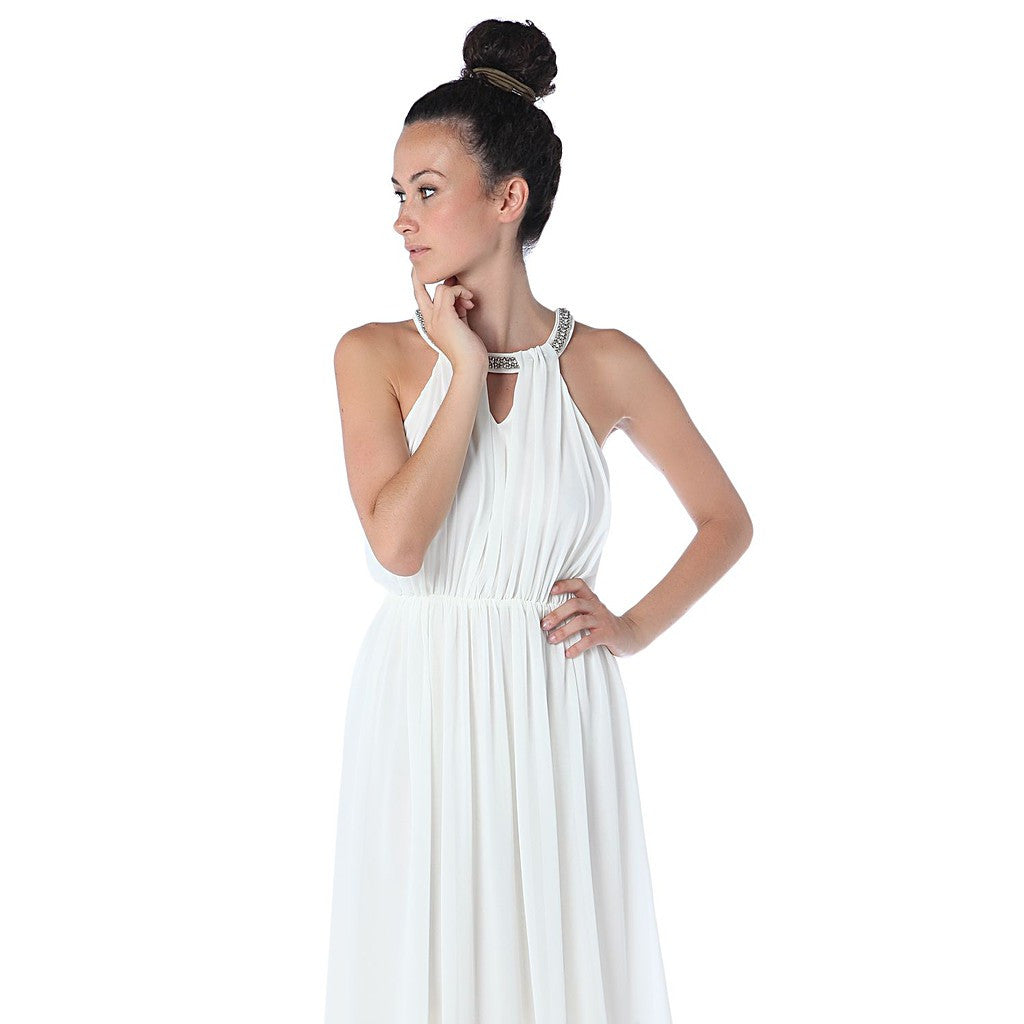 Cream halter neck chiffon maxi dress with embellished neckline - Maison du Roi - 4