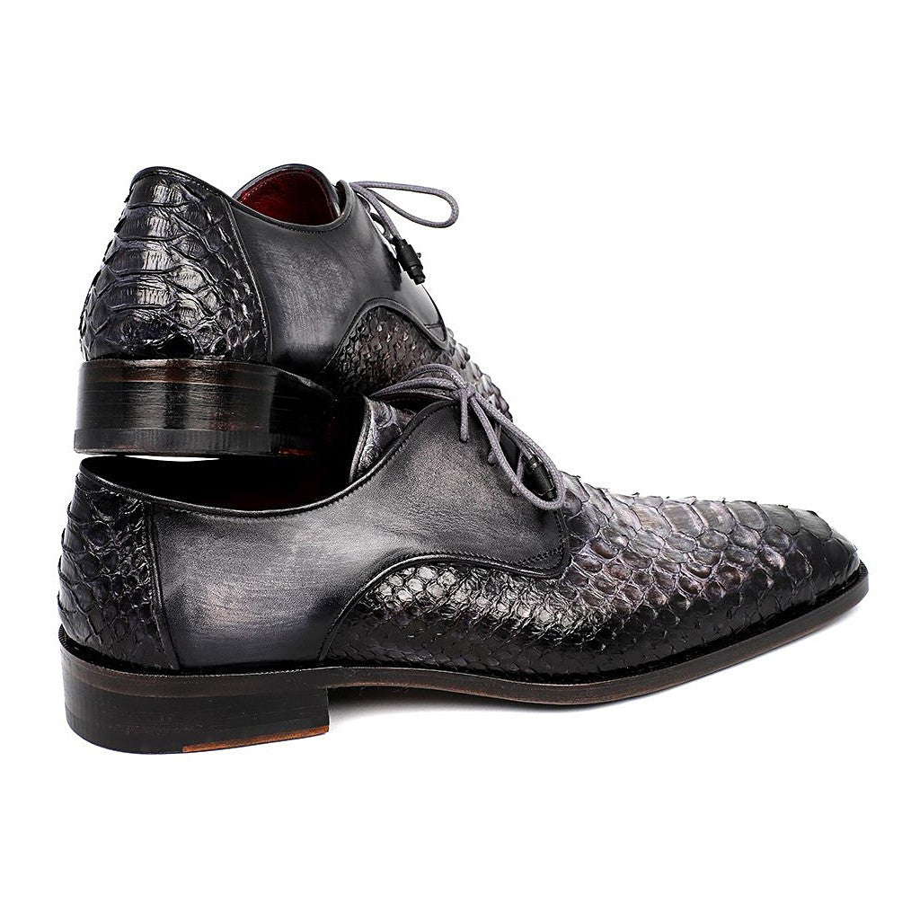 PAUL PARKMAN MEN'S GRAY AND BLACK GENUINE PYTHON & CALFSKIN DERBY SHOES (ID#PT59GRY) - Maison du Roi - 2
