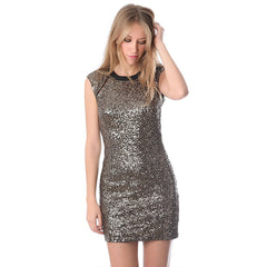 Golden sequin bodycon dress with open back - Maison du Roi - 2