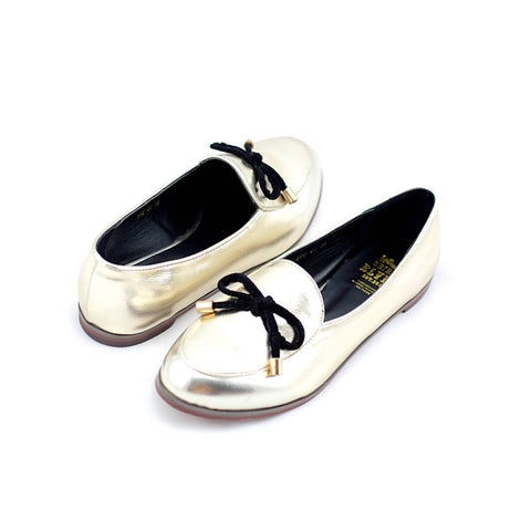 Oscar gold with a feminine bow loafers - Maison du Roi - 1