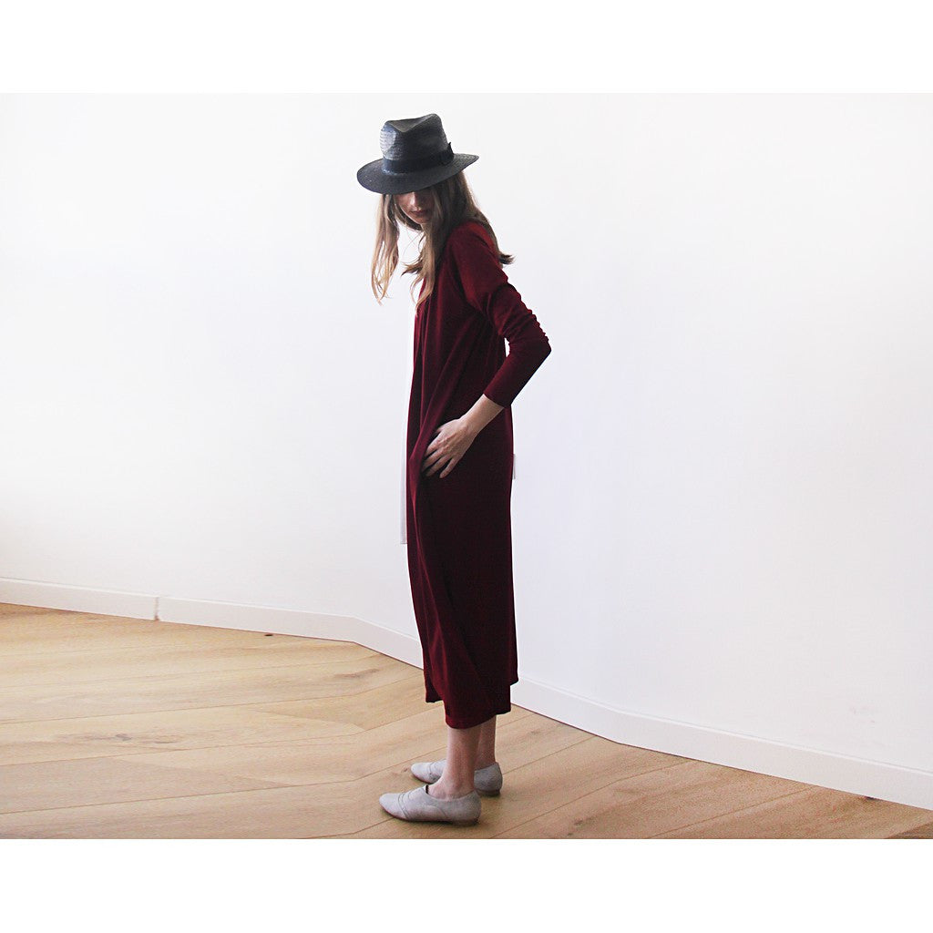 Knitted maxi bordeaux cardigan with pockets ,Red maxi knit autumn coat - Maison du Roi - 4