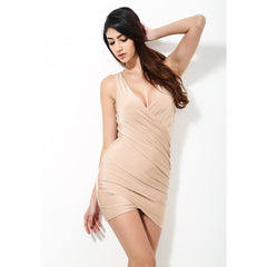 Solid Nude Fitted Party Dress - Maison du Roi - 3