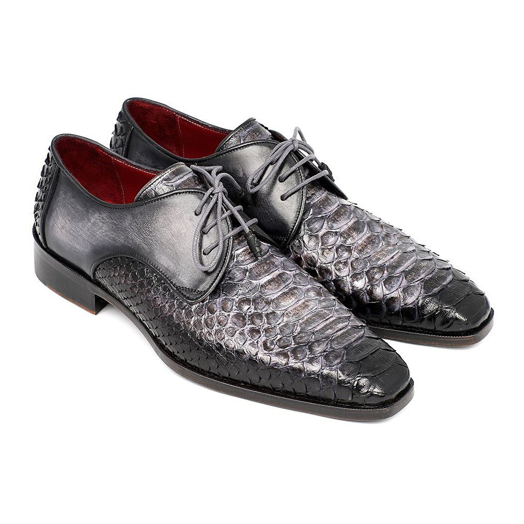 PAUL PARKMAN MEN'S GRAY AND BLACK GENUINE PYTHON & CALFSKIN DERBY SHOES (ID#PT59GRY) - Maison du Roi - 1
