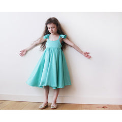 Turquoise girls butterfly dress - Maison du Roi - 4