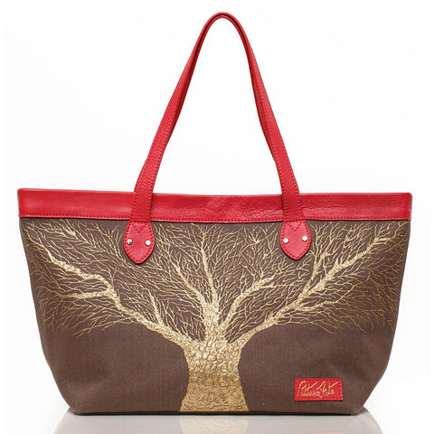 Sepia and Red Golden Roots Tote - Maison du Roi - 1