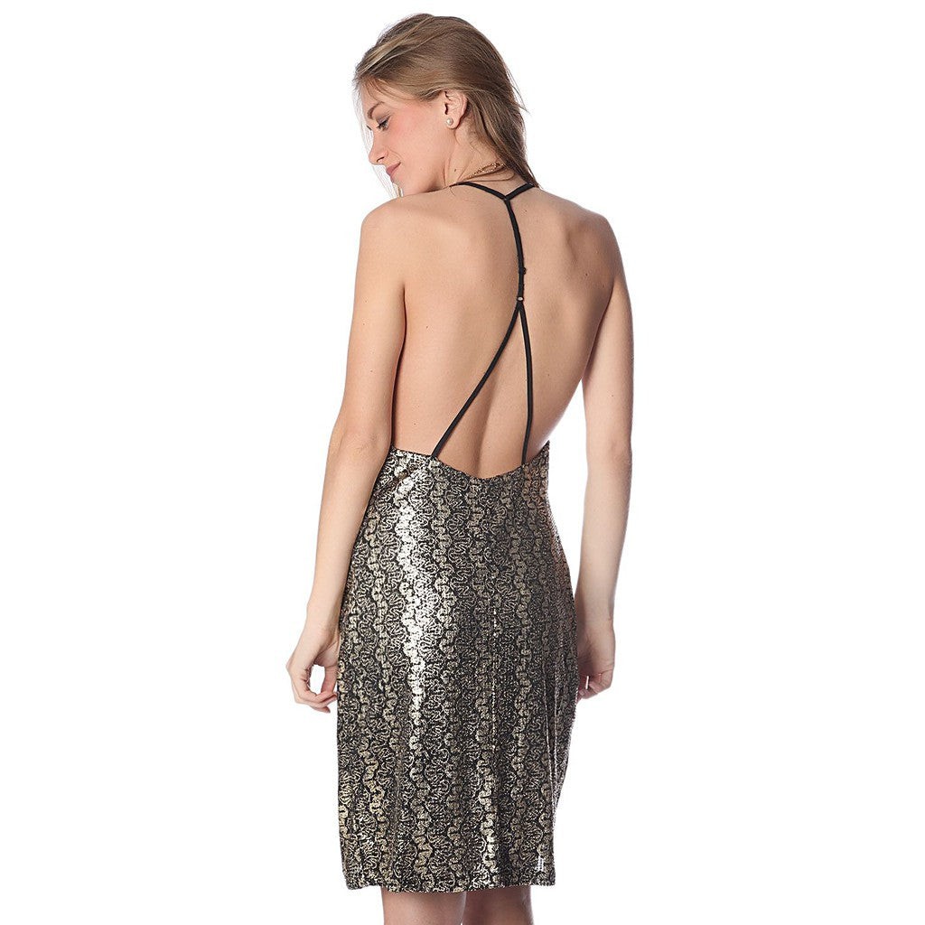 Golden brocade print dress with strappy back - Maison du Roi - 3