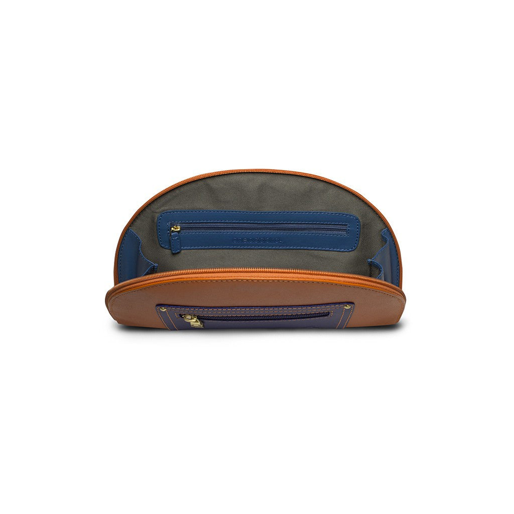 Orange/Navy Saffiano Leather Clutch - Hoopoe - Similar to Fendi - Maison du Roi - 2