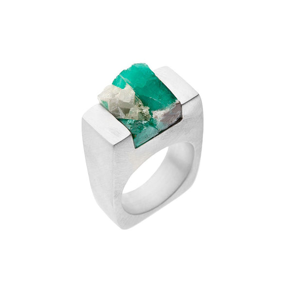 Emerald Silver Ring - Similar to Cartier