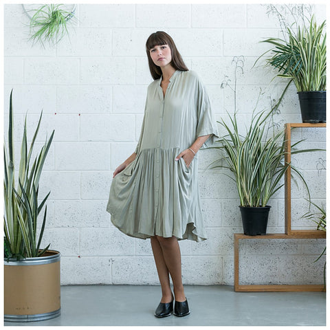 Oversized Buttoned Shirt Dress,Dropped Waist Shirt Dress, Stone. - Maison du Roi - 1