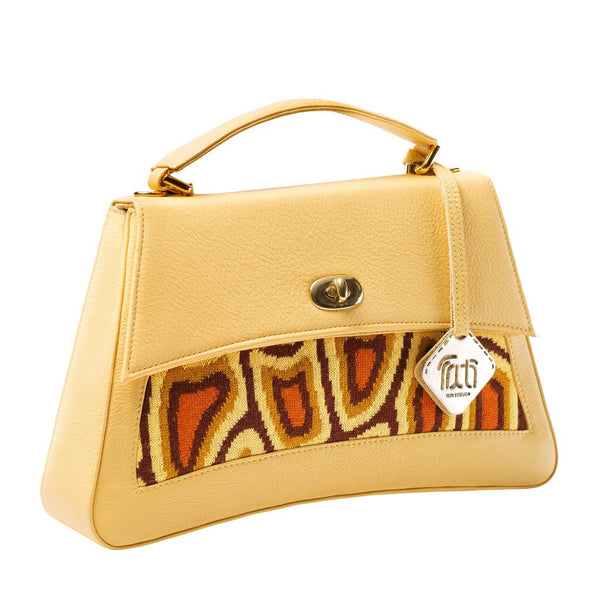 TATI BODUCH Designer Handbag, JASPER Collection, genuine leather: yellow, knitwear: orange