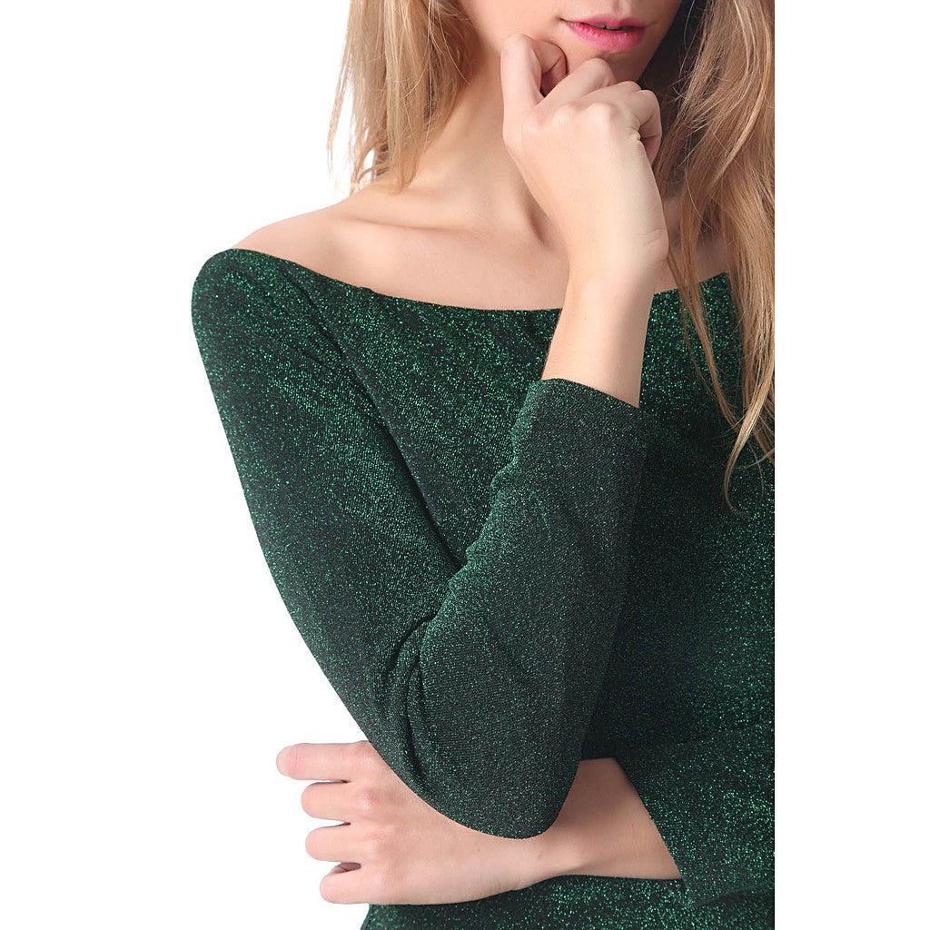 Green glitter mini bodycon dress - Maison du Roi - 4