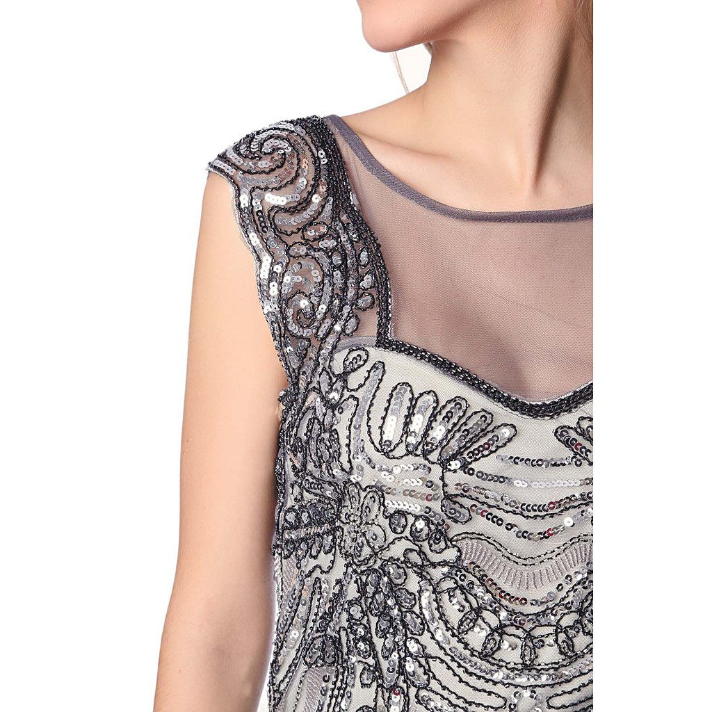 Silver sequin midi dress with deep back - Maison du Roi - 4