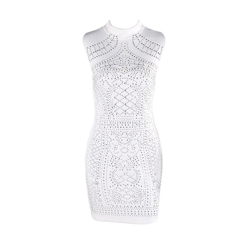 Sleeveless Studded Geometric Party Dress - Maison du Roi - 1