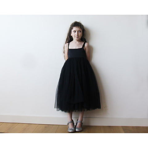 Black tie straps girls flower girl tulle dress - Maison du Roi - 1