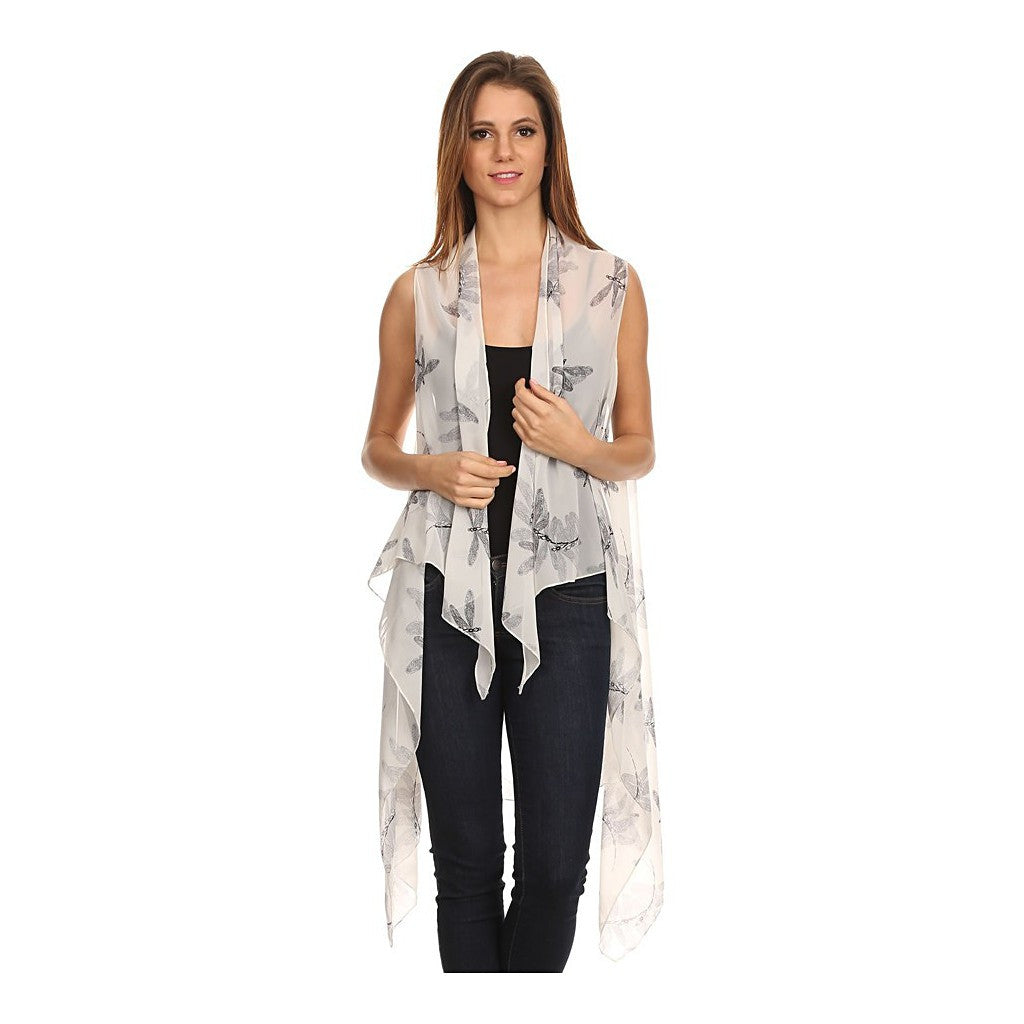 Womens Mid-length Lightweight Open Front Sleeveless Poncho. Dragonfly pattern. - Maison du Roi - 1