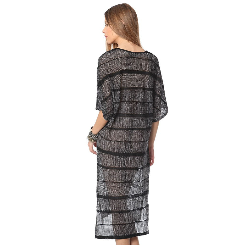 Stripe dress with cage detail - Maison du Roi - 2
