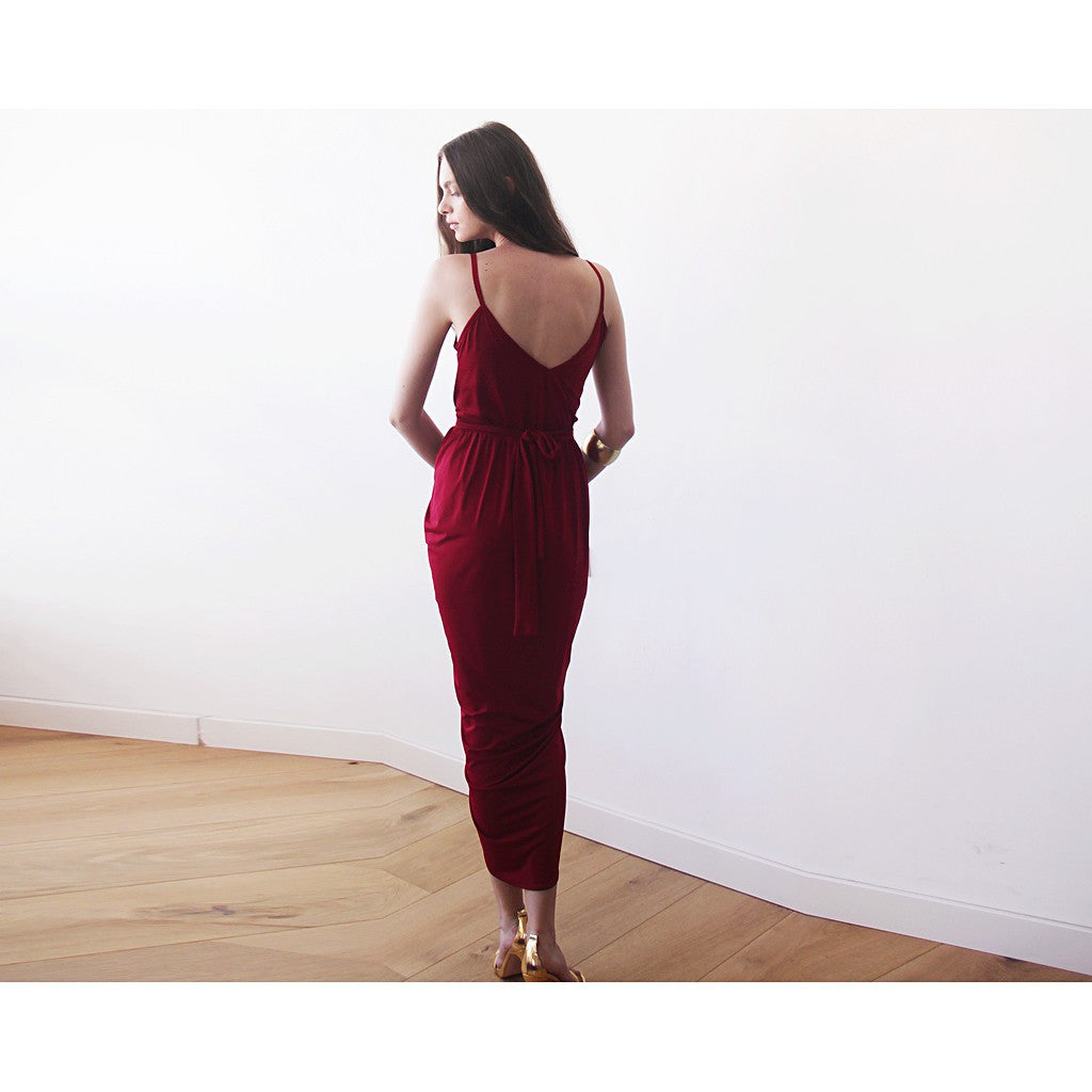 Wrap maxi Bordeaux gown, Wine red tulip maxi gown - Maison du Roi - 3