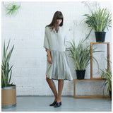 Oversized Buttoned Shirt Dress,Dropped Waist Shirt Dress, Stone. - Maison du Roi - 6