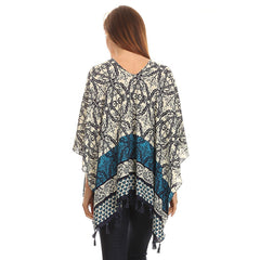Womens Pullover Lightweight Poncho with Wooden Beaded Tassels - Maison du Roi - 4
