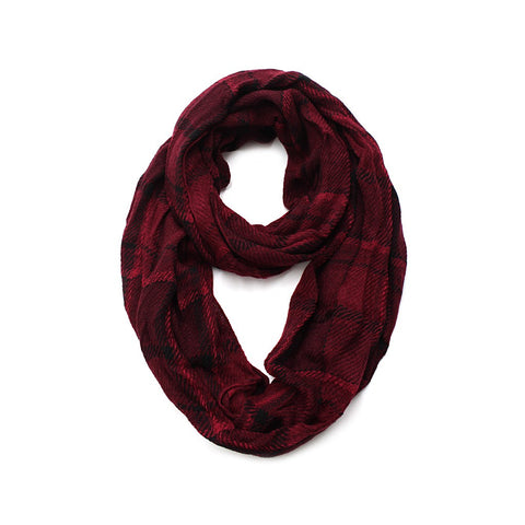Red & Black Soft Plaid Infinity Scarf - Maison du Roi - 1