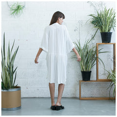 Oversized Buttoned Shirt Dress,Dropped Waist Shirt Dress, White. - Maison du Roi - 3