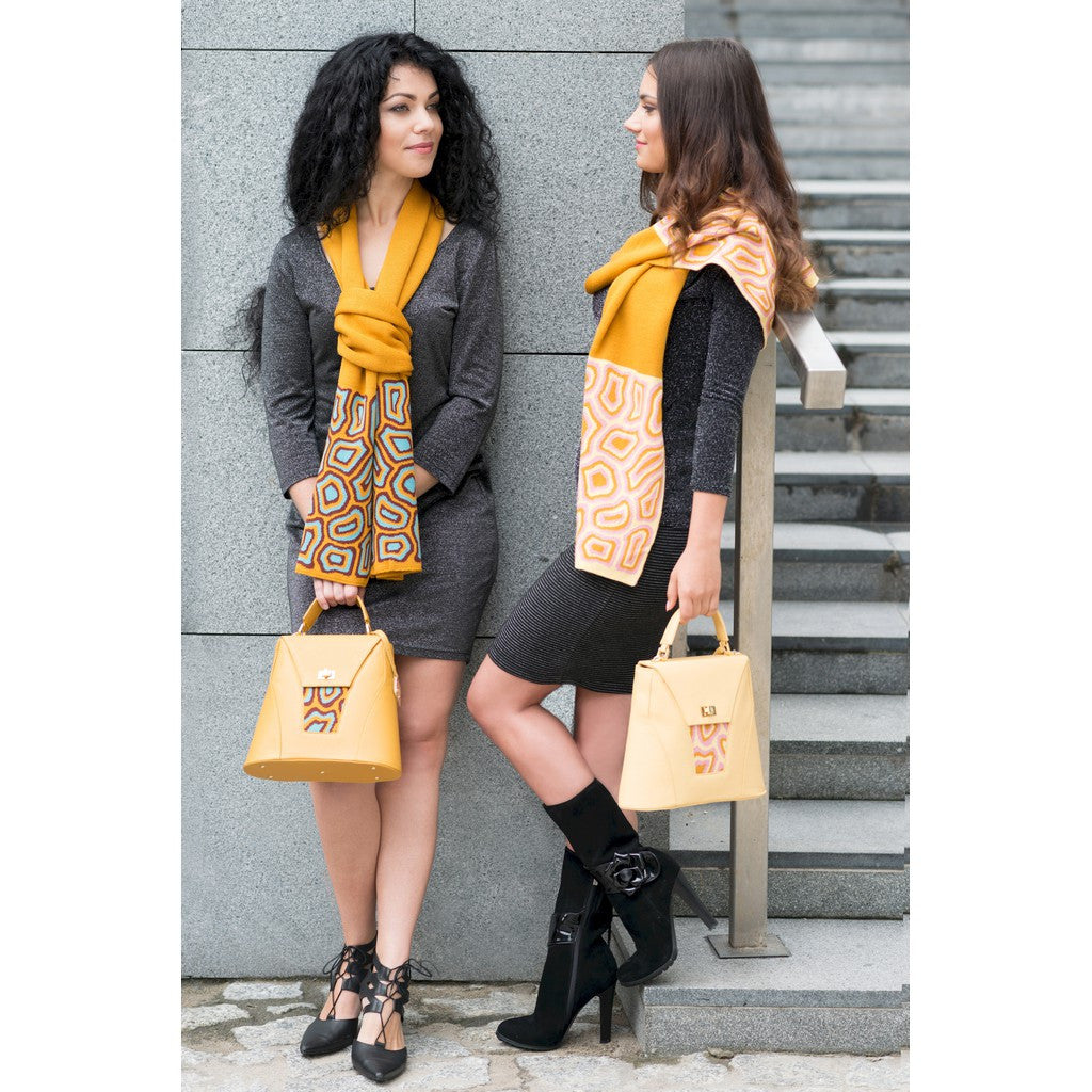 TATI BODUCH Designer Handbag, AGATE Collection, genuine leather: mustard, knitwear: turquoise - Maison du Roi - 3
