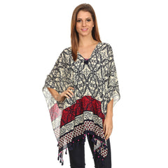 Womens Pullover Lightweight Poncho with Wooden Beaded Tassels - Maison du Roi - 1