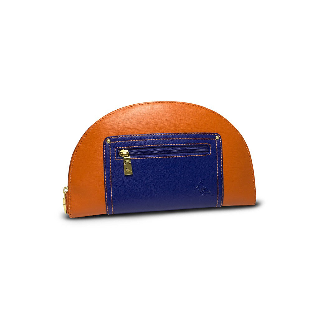 Orange/Navy Saffiano Leather Clutch - Hoopoe - Similar to Fendi - Maison du Roi - 1