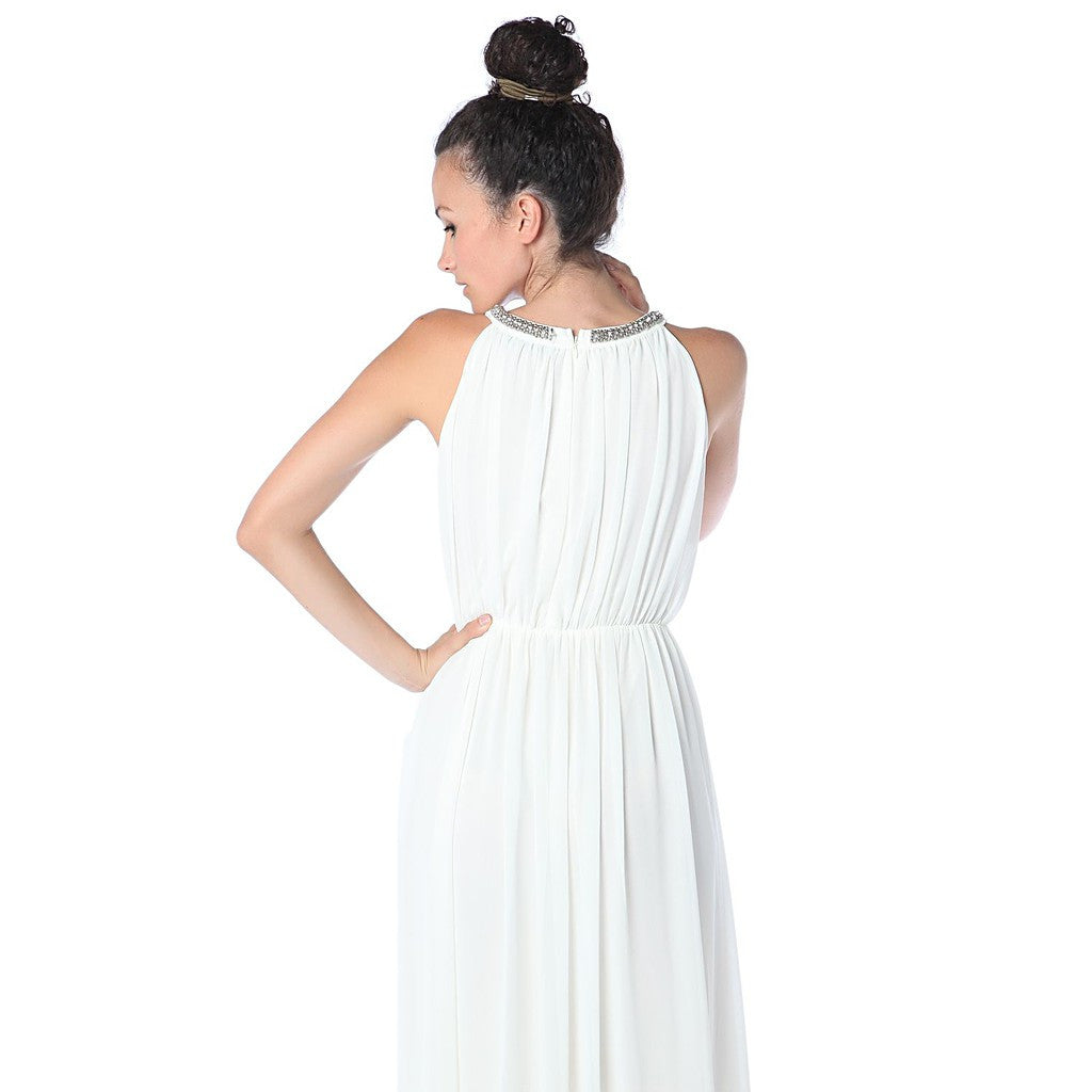 Cream halter neck chiffon maxi dress with embellished neckline - Maison du Roi - 3