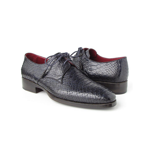 Paul Parkman Men's Navy Genuine Python Derby Shoes (ID#66CK94-NAVY) - Maison du Roi - 1